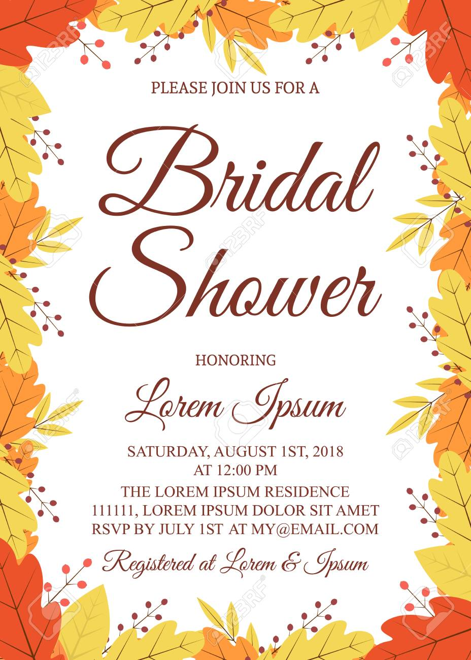 38a4a5a5be98 Autumn bridal shower invitation card. Border with colorful leaves and  berries. Fall theme bridal