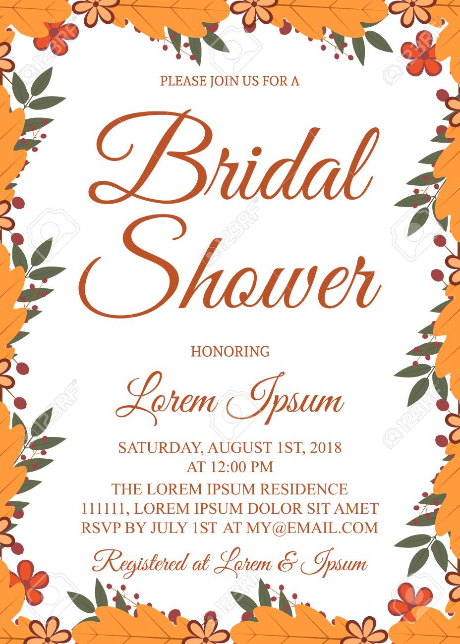 Autumn Bridal Shower Invitation Card Border With Colorful Leaves