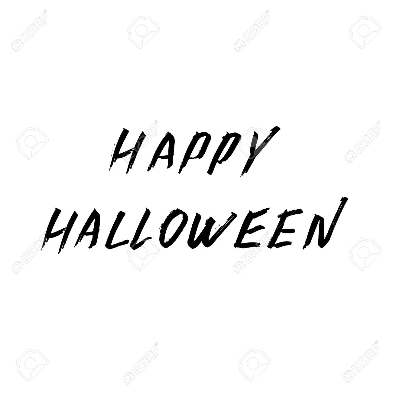 Happy Halloween Hand Written With Brush Grunge Style Lettering