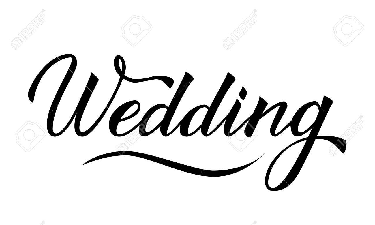 Writing Wedding Isolated On White Hand Written With Brush