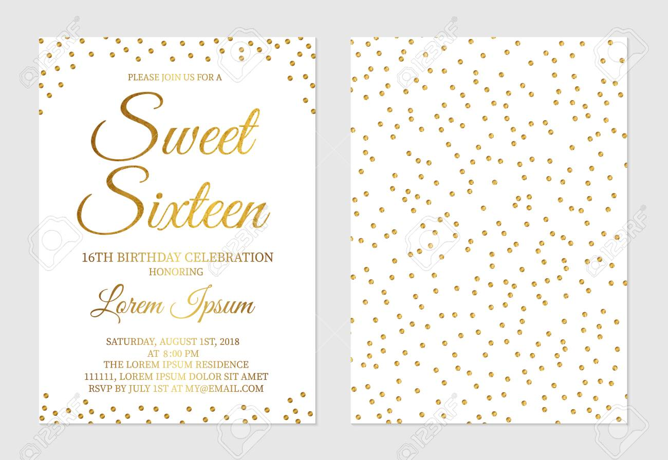 Gold Glitter Confetti Sweet Sixteen Invitation Card Front And