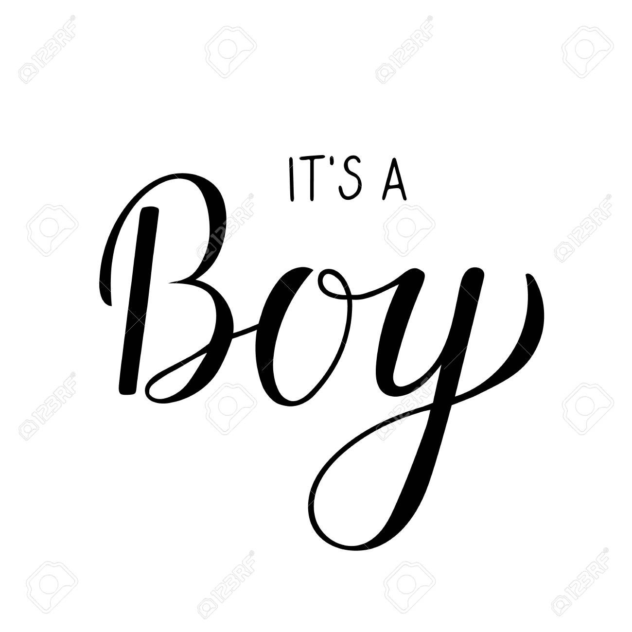 It\'s a Boy calligraphy lettering. Celebration quote hand written..