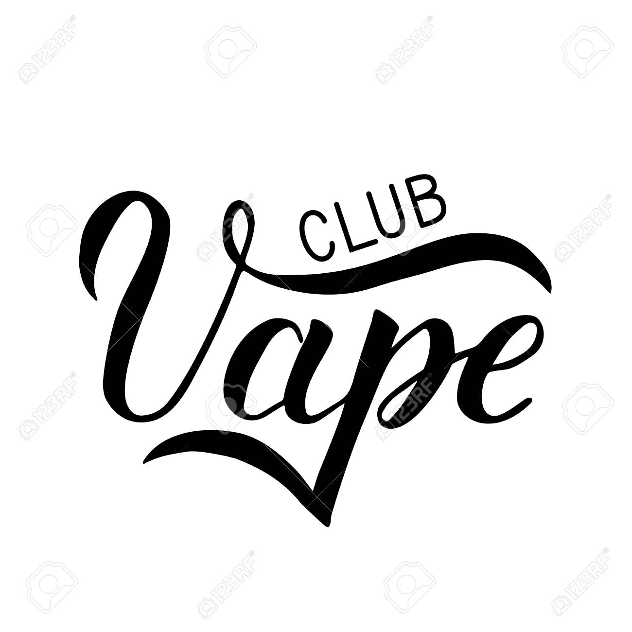 Vape Club hand written isolated on white background  Calligraphy