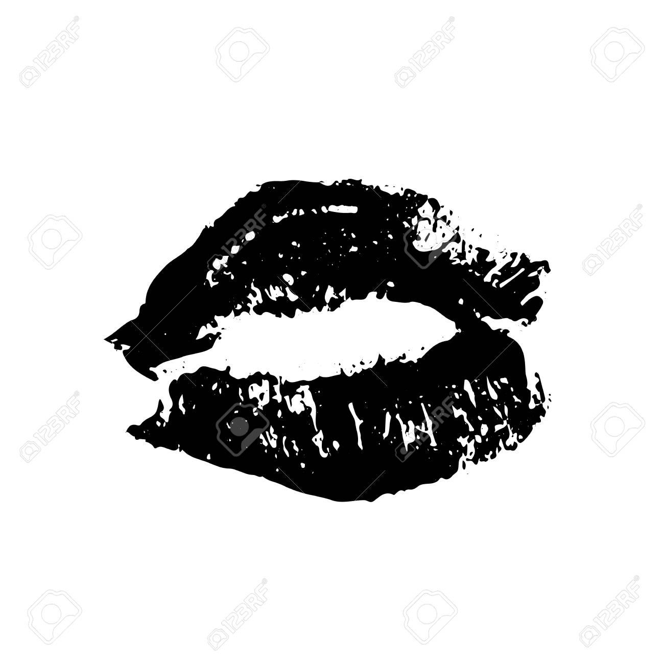 Black lipstick kiss on white background imprint of the lips kiss mark vector illustration