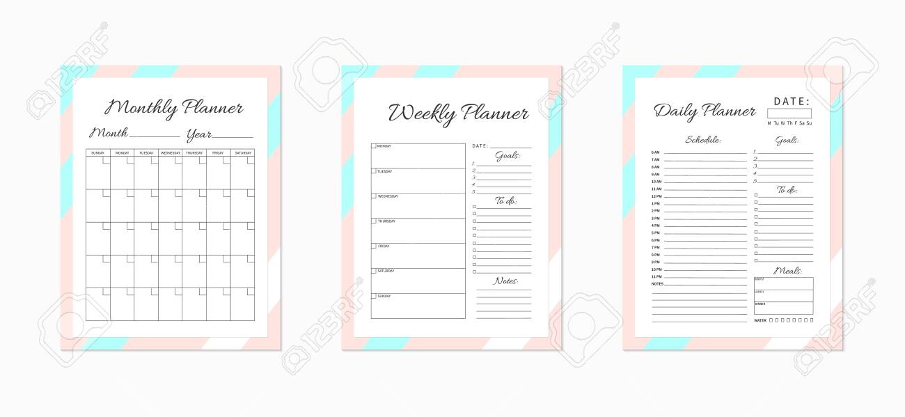 photograph about Daily Planner Page identified as Day by day, weekly and regular planner templates. Blank white, crimson..