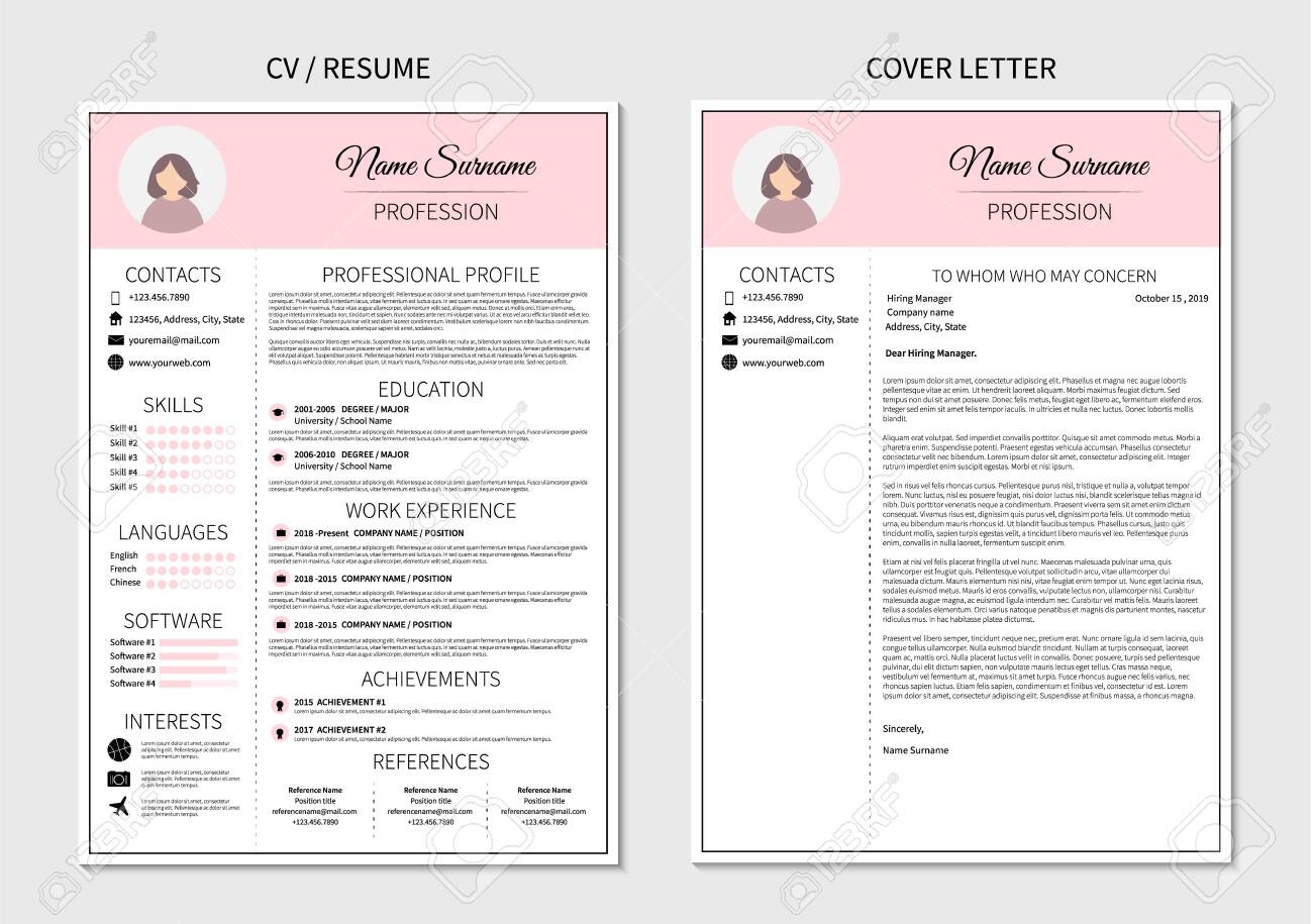 Resume template for women. Modern CV and cover letter layout..