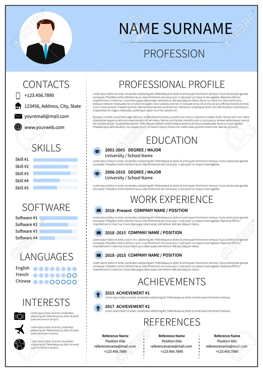 Modern CV layout with infographic. Resume template for man. Minimalistic..