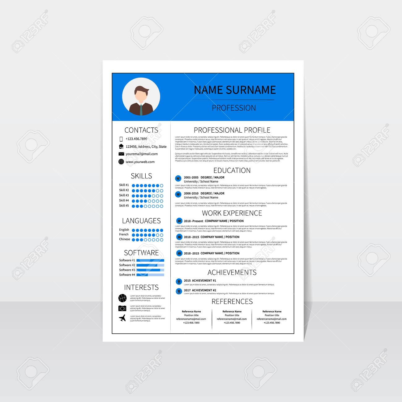 Resume Template For Man Modern Cv Layout With Infographic Minimalistic