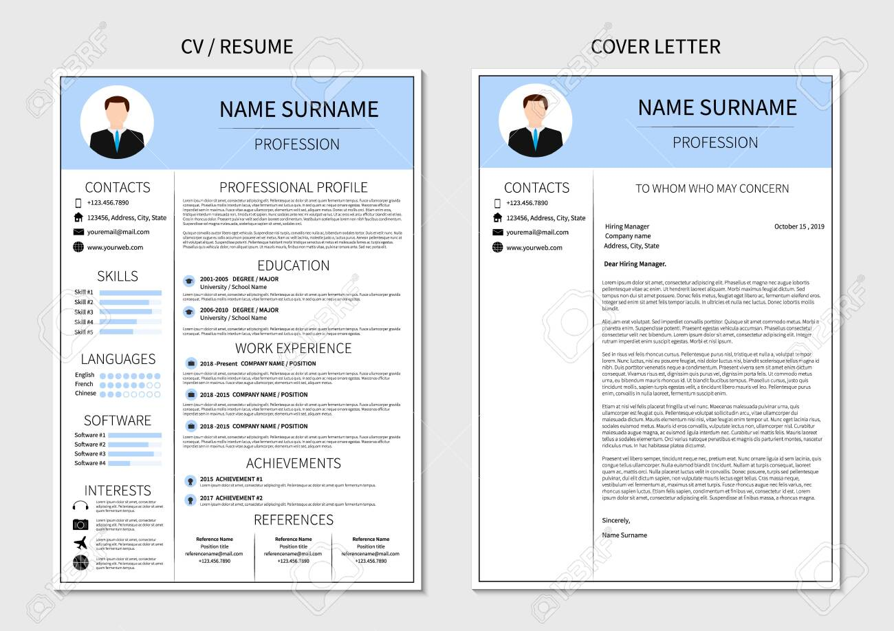 Resume Template For Men Modern Cv And Cover Letter Layout With