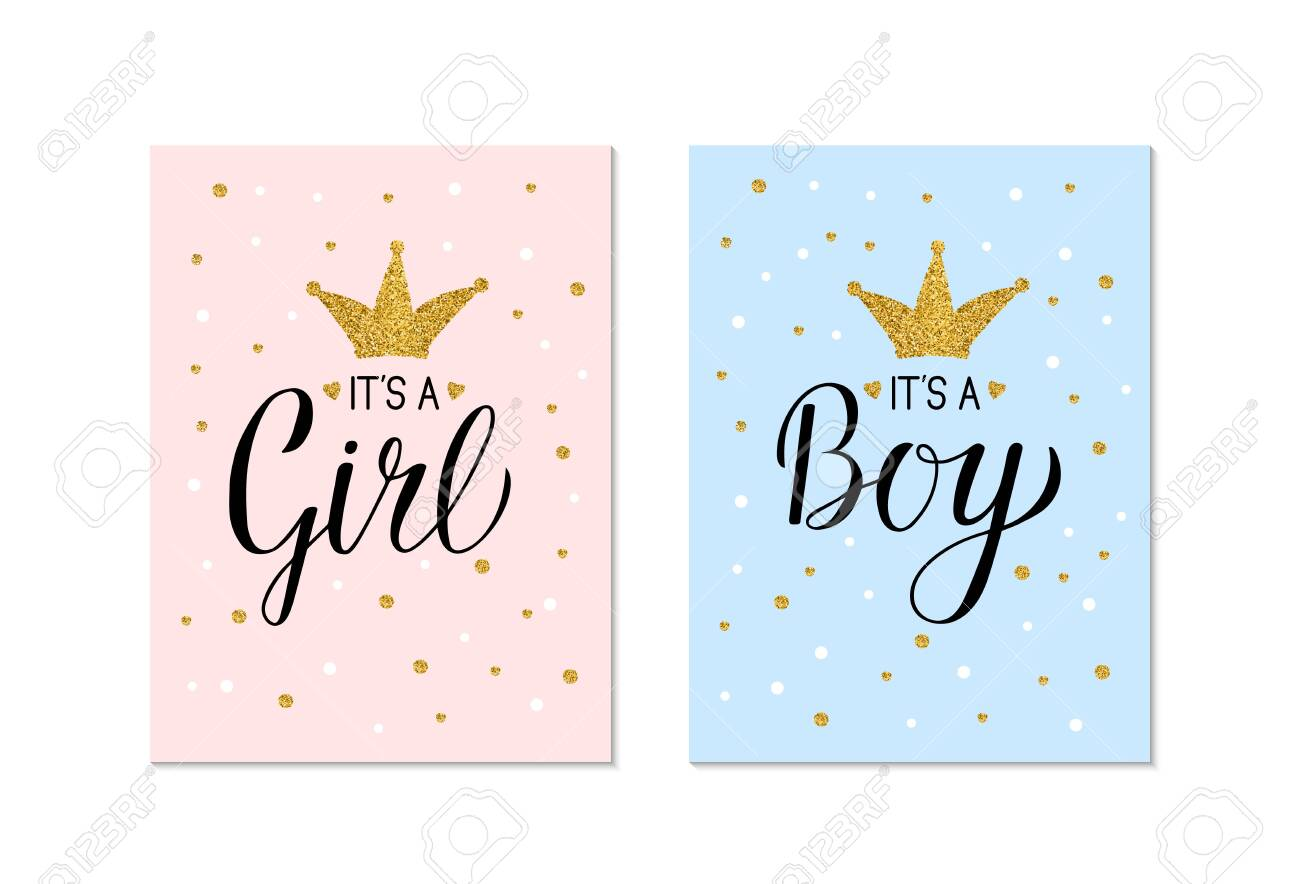 Blue Glitter Gender Reveal Banner Boy or Girl Gender Reveal Banner Gender Reveal Banner Pink and Gold Gender Reveal Banner