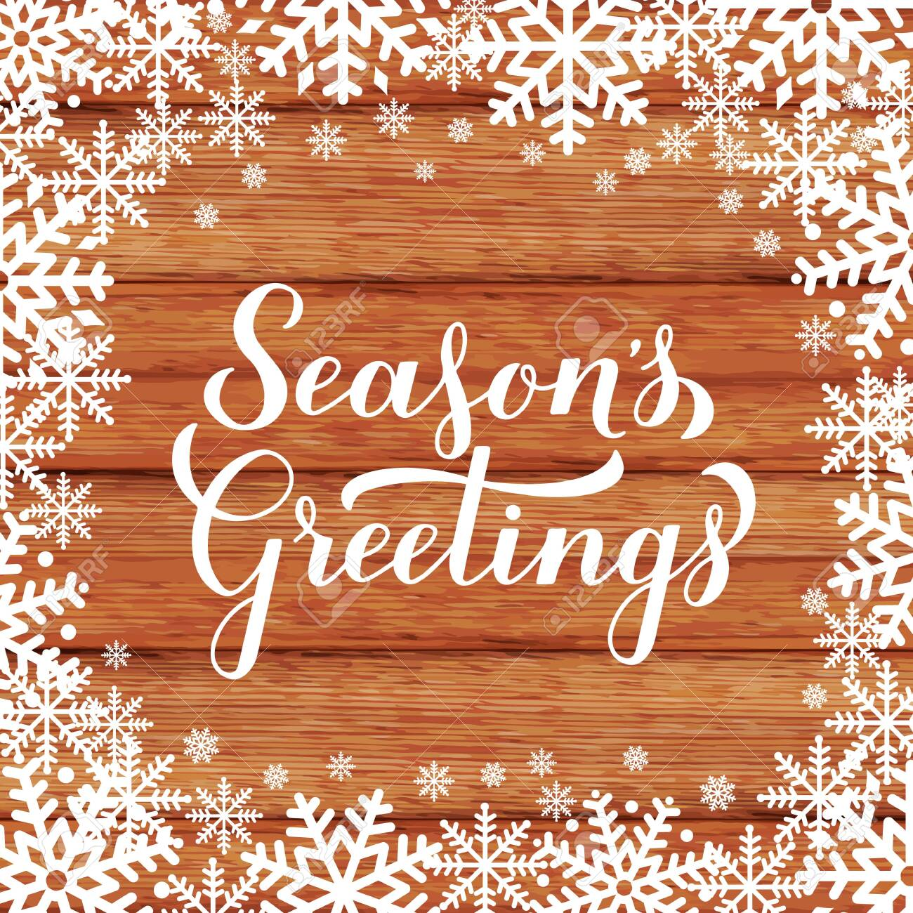 Season s Greetings calligraphy hand lettering on wood background with snowflakes. Merry Christmas and Happy New Year typography poster. Vector template for greeting card, banner, flyer, tag, etc. - 135537502