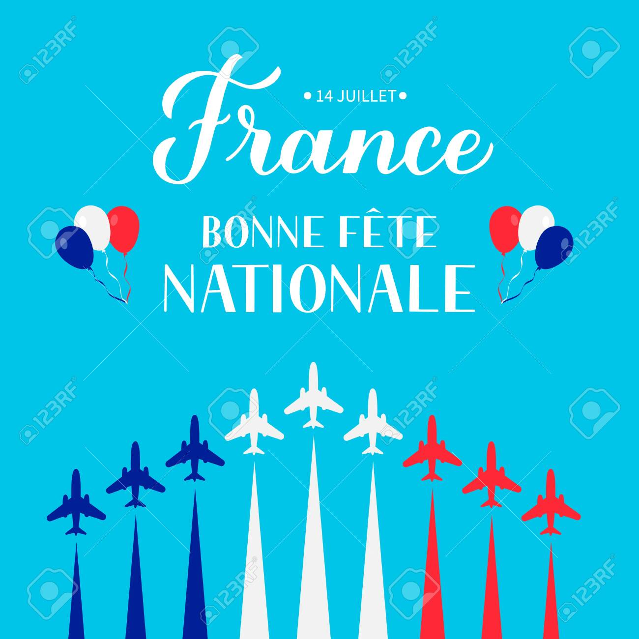 Bonne Fete Nationale Happy National Day in French lettering with airplanes and air show in sky. Vector template for Bastille Day typography poster, banner, invitation, greeting card, flyer. - 150145121