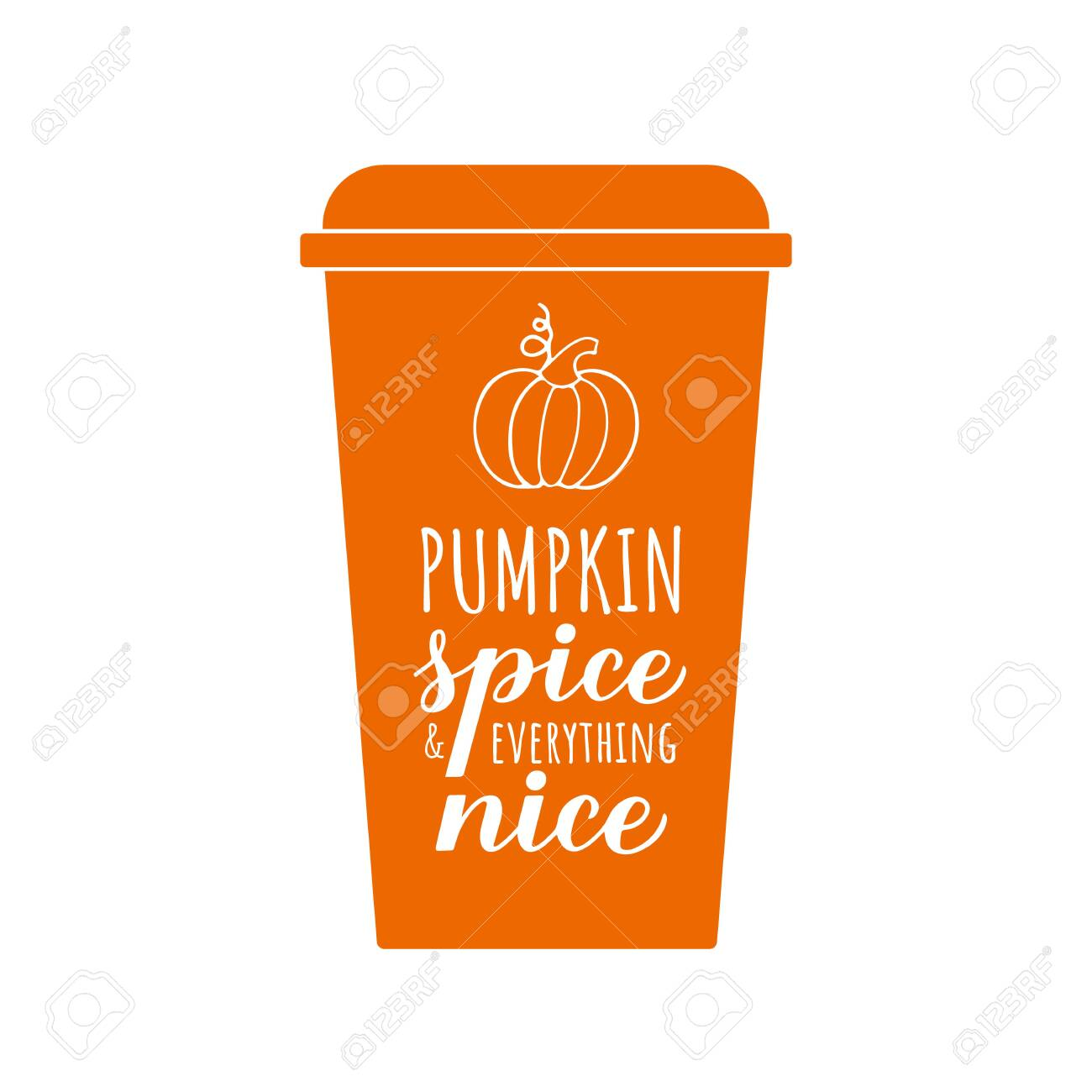 Pumpkin Spice and Everything Nice calligraphy hand lettering on coffee cup. Inspirational autumn quote typography poster. Vector template for fall decorations, banner, card, flyer, t-shirt, etc. - 156795539