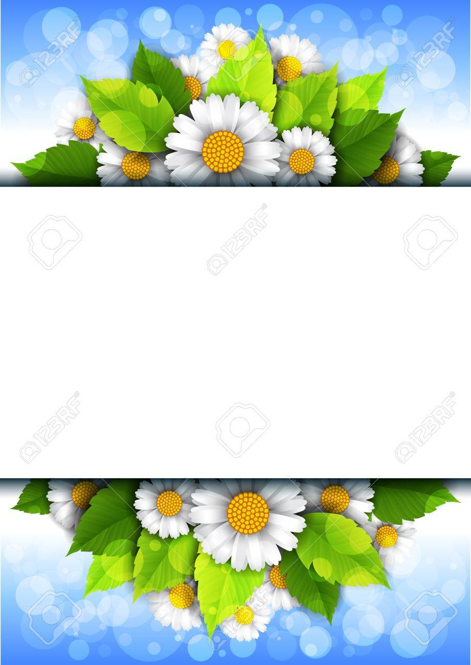 background with flowers and place for text Stock Vector - 14763217