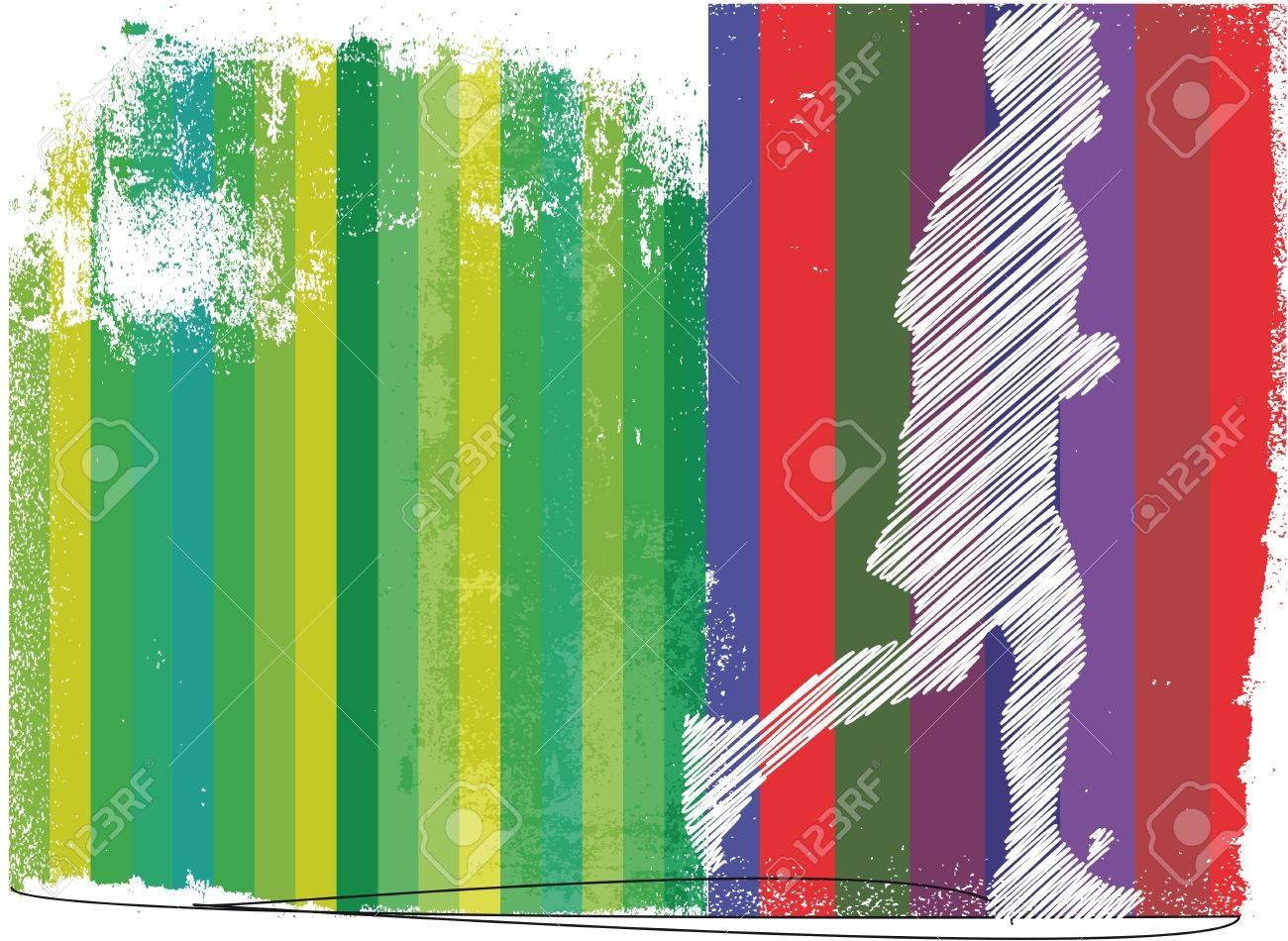 Marathon runner in abstract background. Vector illustration Stock Vector - 11370686