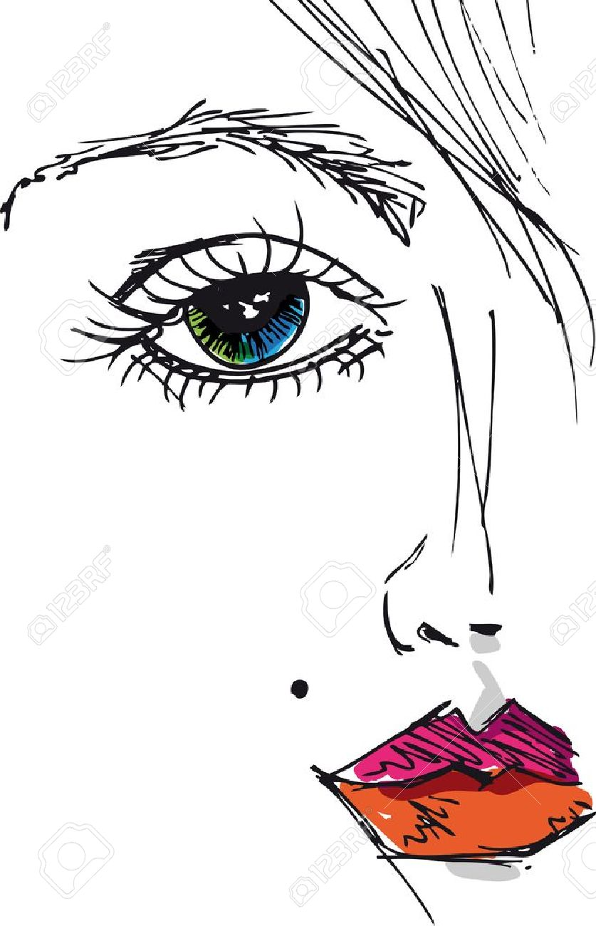 Sketch of beautiful woman face. Vector illustration Stock Vector - 11487001