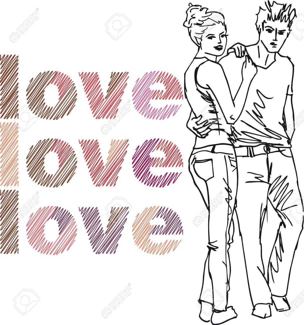 Sketch of couple. Vector illustration. Stock Vector - 11780167