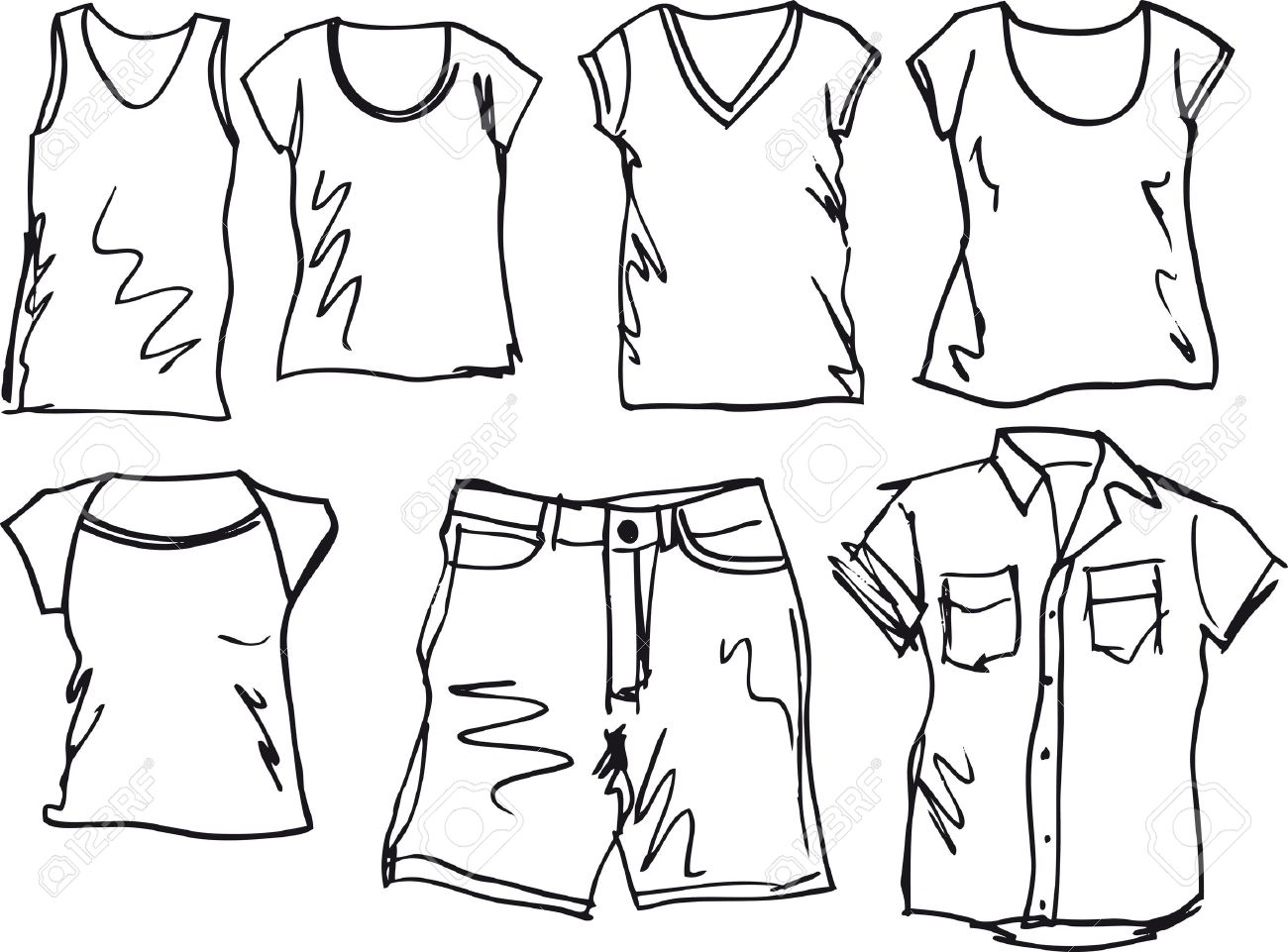 Summer Clothing Sketch Collection. Vector Illustration Royalty ...