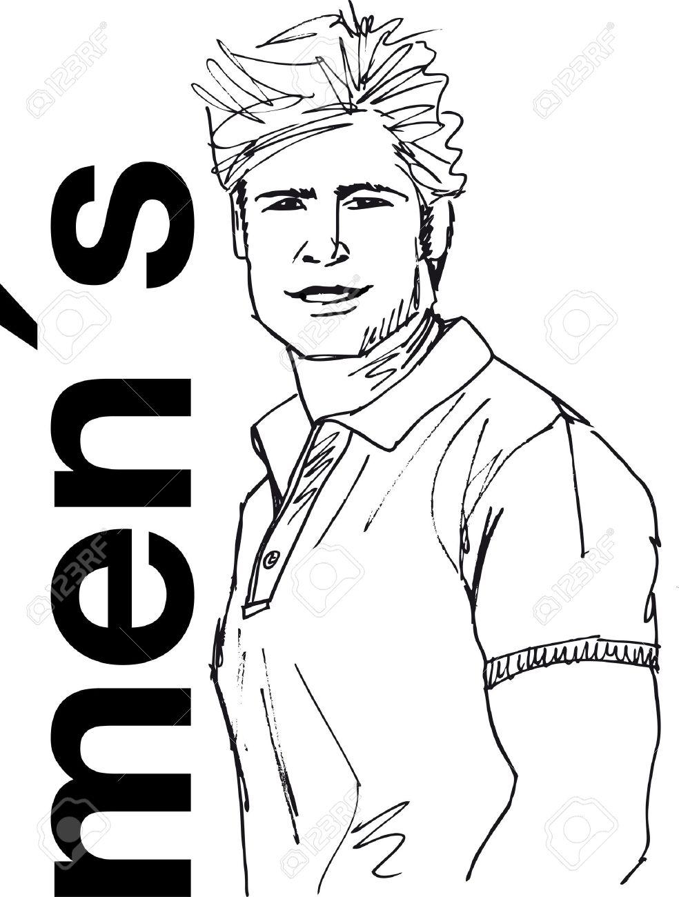 Sketch of handsome man face vector illustration stock vector 11857718