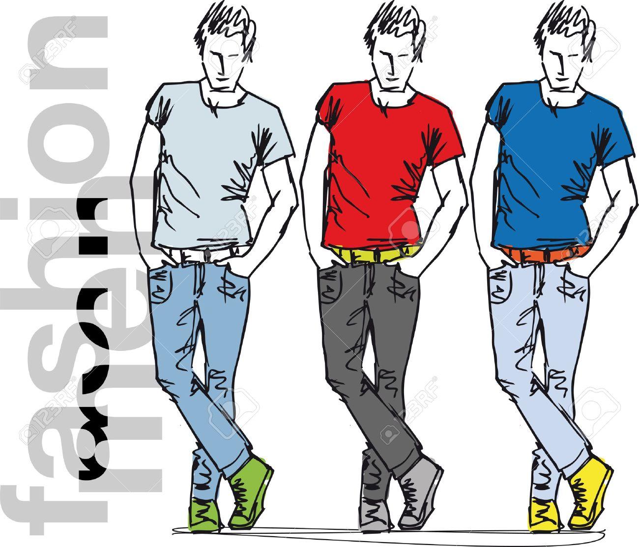 Sketch of fashion handsome men. Vector illustration Stock Vector - 11857725