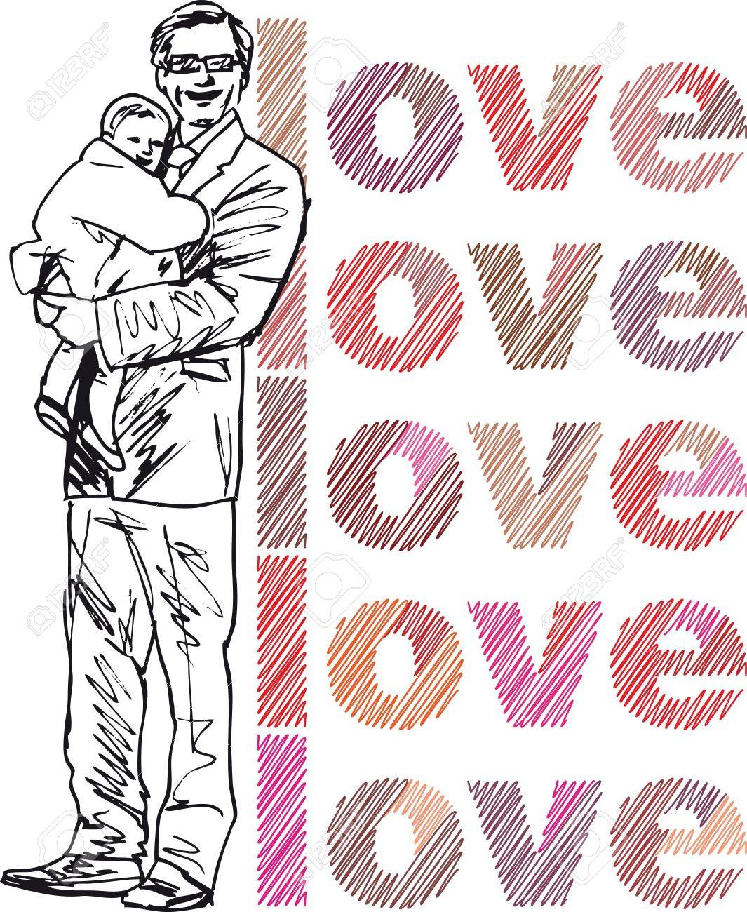 Sketch of dad and daughter, vector illustration Stock Vector - 11857728