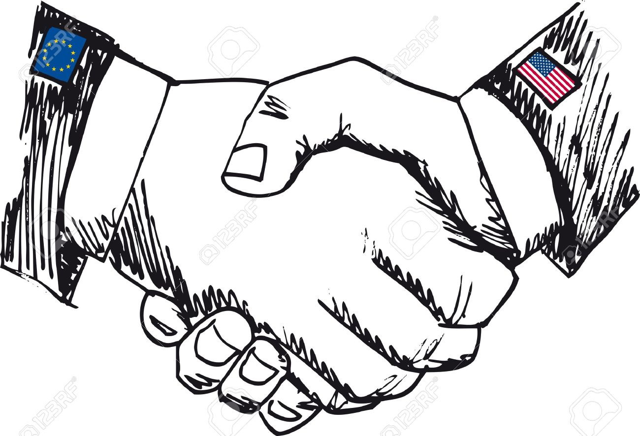 Alliance between countries. Sketch of business hand shake between two colleagues. Vector illustration Stock Vector - 11857713