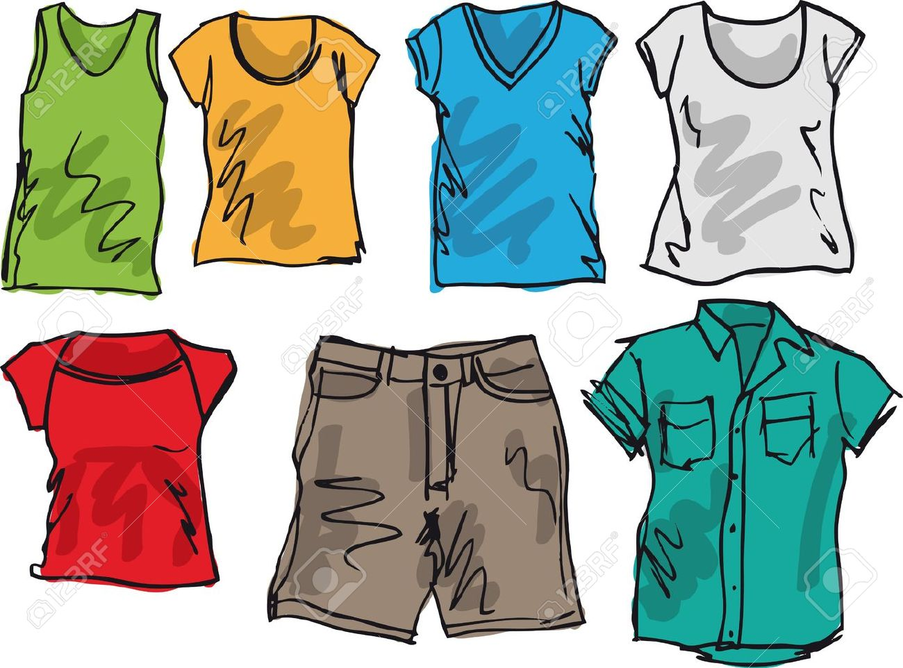 Summer Clothing Sketch Collection. Illustration Royalty Free ...