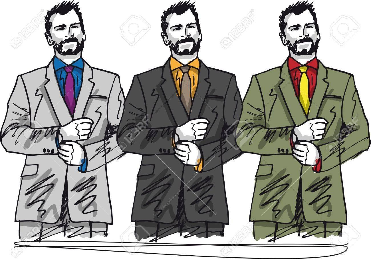 Sketch of fashion handsome man. illustration Stock Vector - 12145329