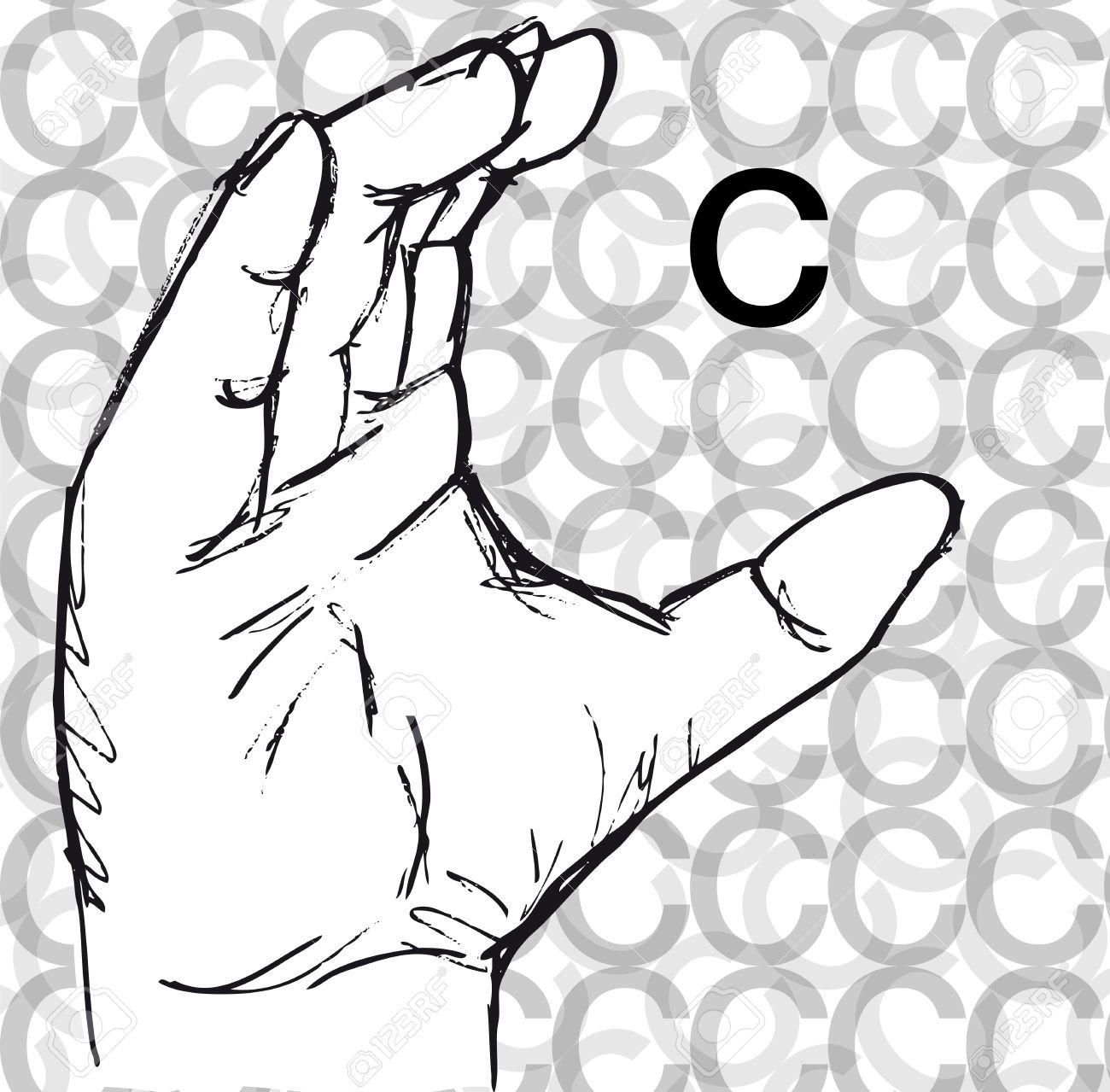 Sketch of Sign Language Hand Gestures, Letter c. Vector illustration Stock Vector - 12288527