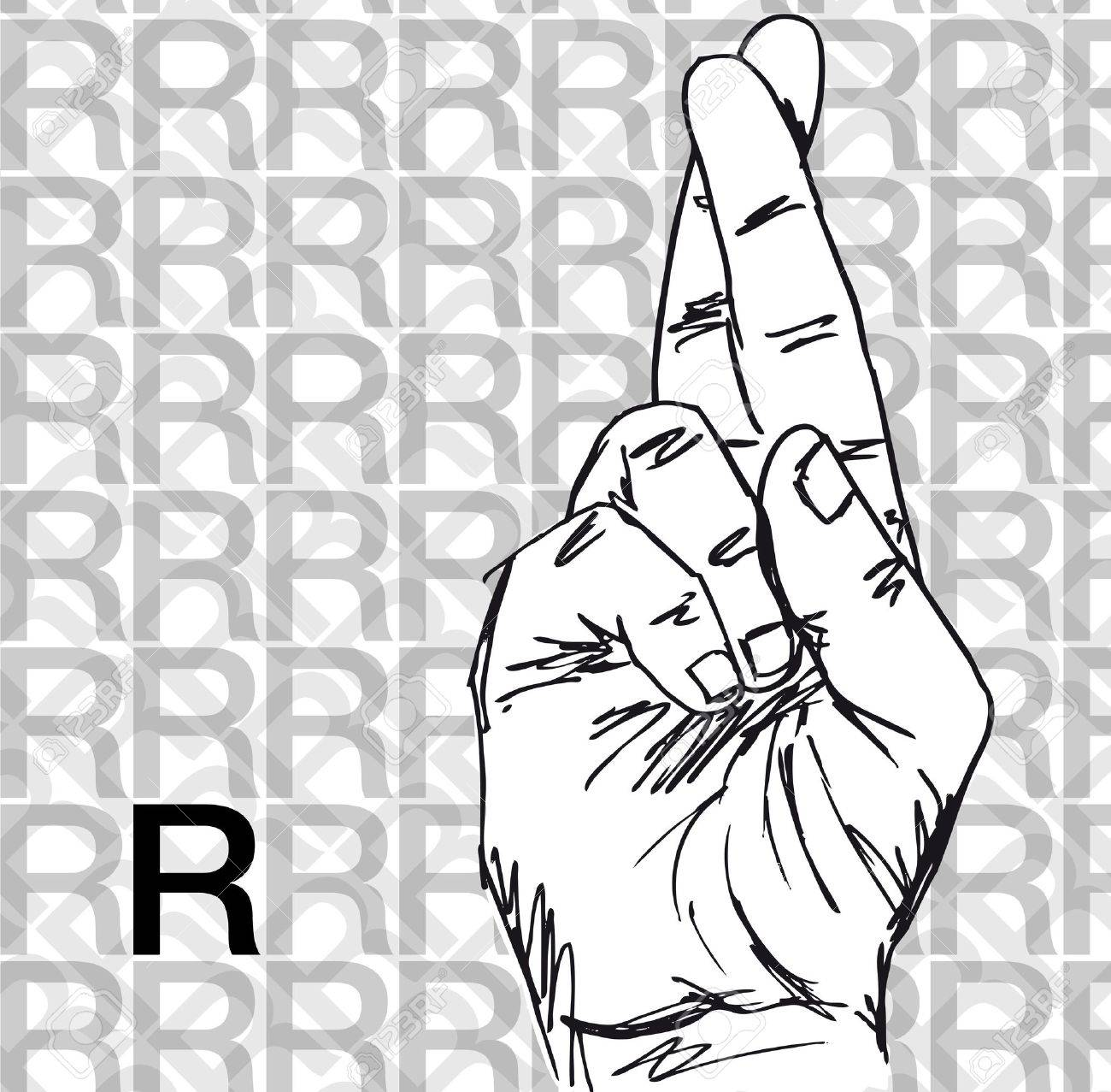 sketch of sign language hand gestures letter r vector illustration stock vector 12288526