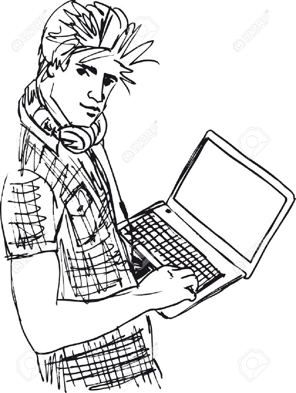 Sketch of Young man with laptop  Vector illustration Stock Vector - 12387026
