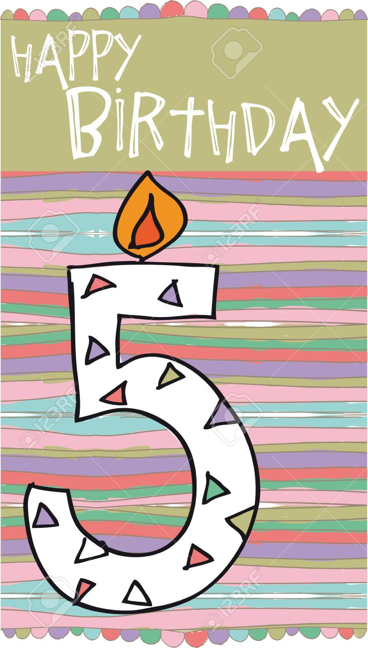 Illustration Of Number 5 Birthday Candles With Colorful Background Stock Vector