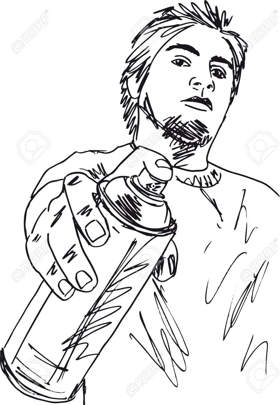 Sketch of young man with a tin of spray  Vector illustration Stock Vector - 12713061