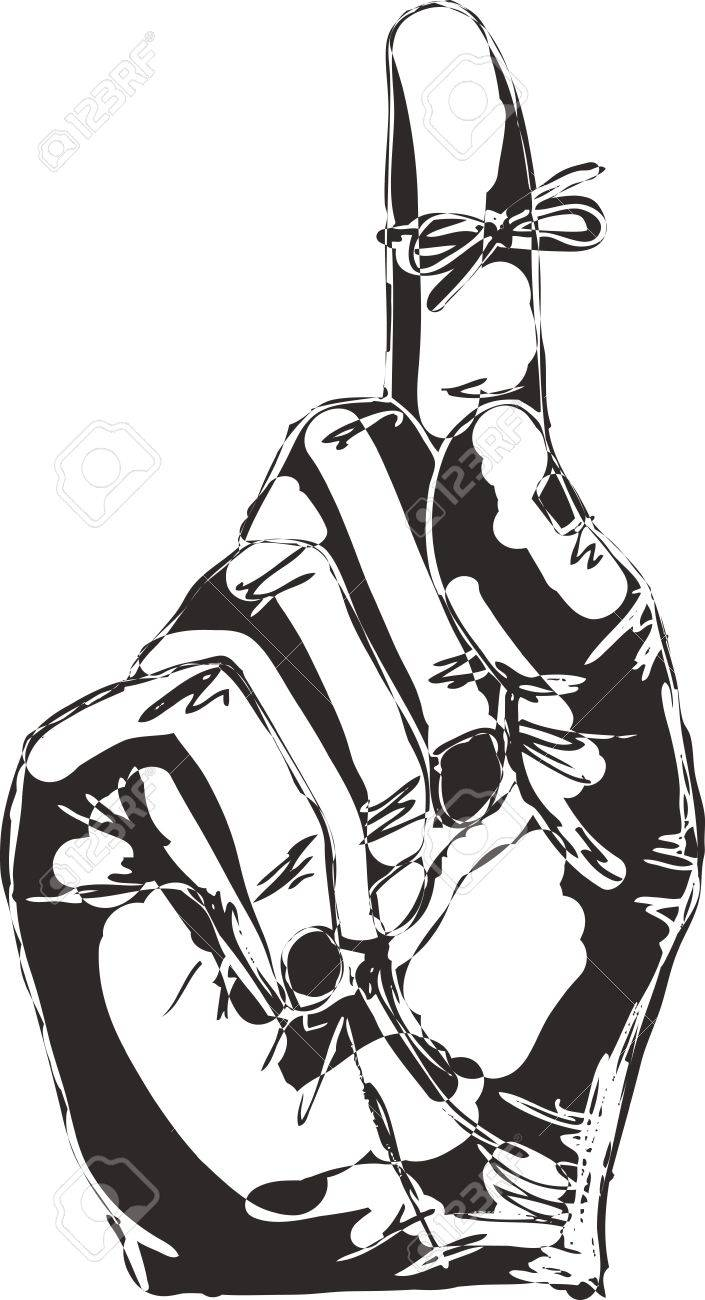 Sketch Of Right Hand With Reminder String Tied To Index Finger ...