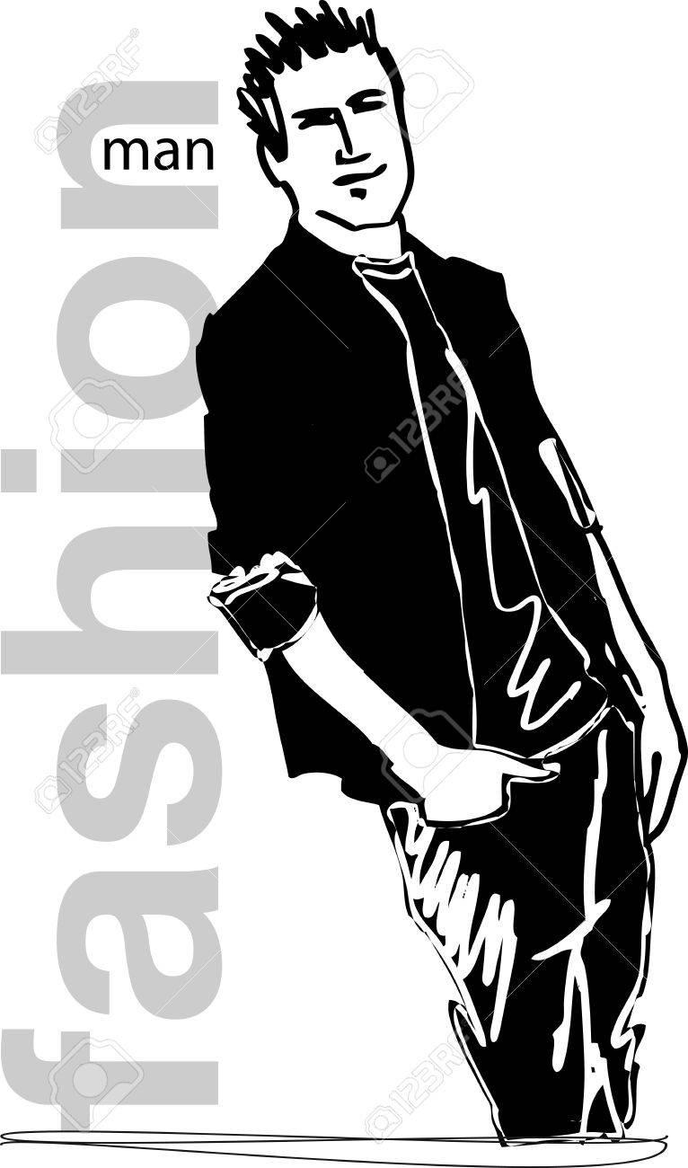 Sketch of fashion handsome man  Vector illustration Stock Vector - 12713045