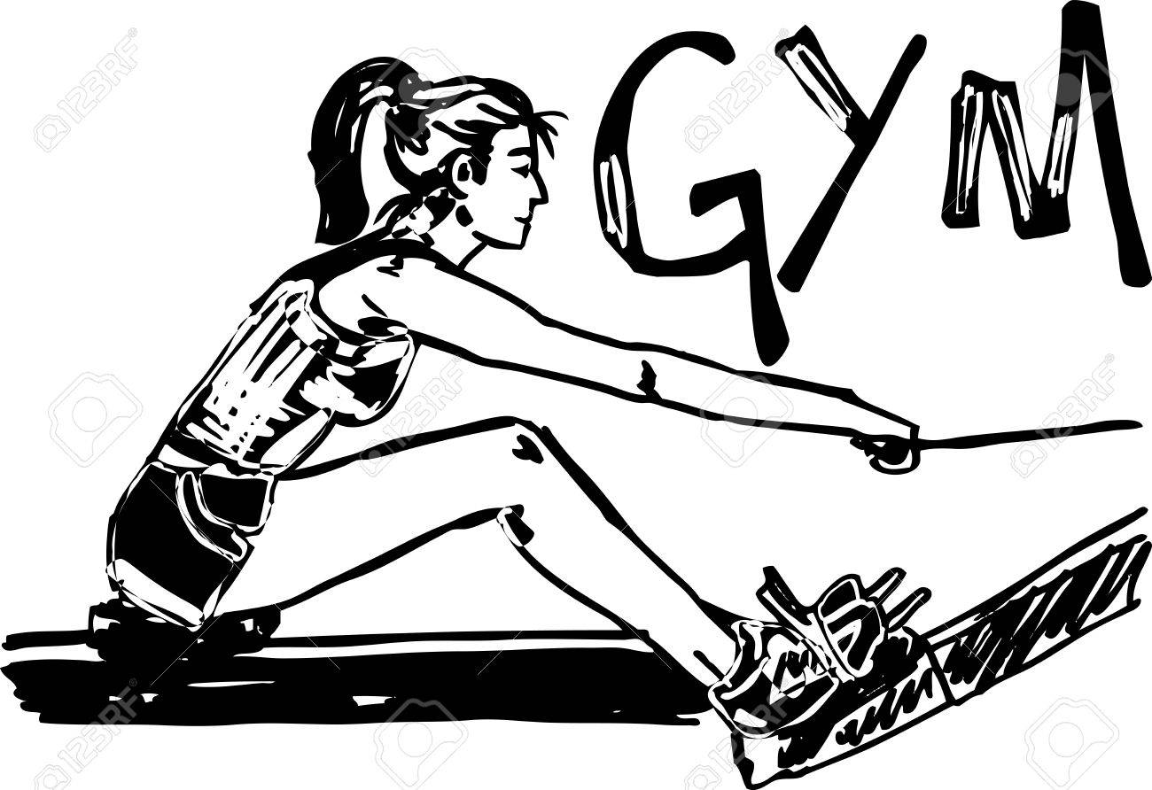Sketch of woman exercising on machines at gym - health club  vector illustration Stock Vector - 12713048