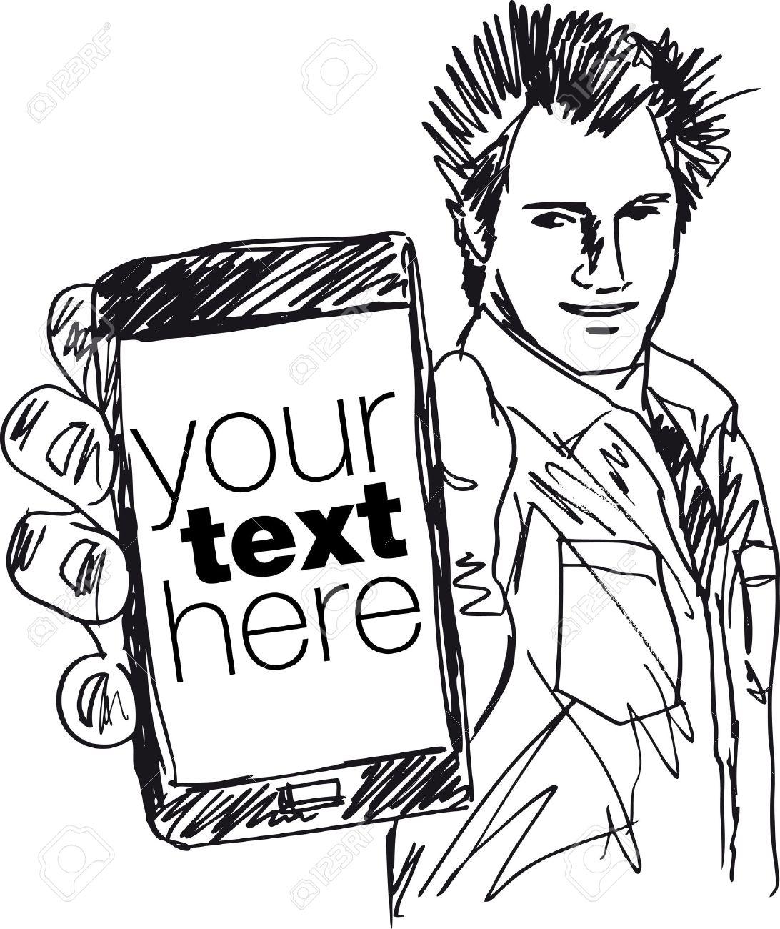 Sketch of Handsome guy showing his Modern Smartphone  Vector illustration Stock Vector - 12713032
