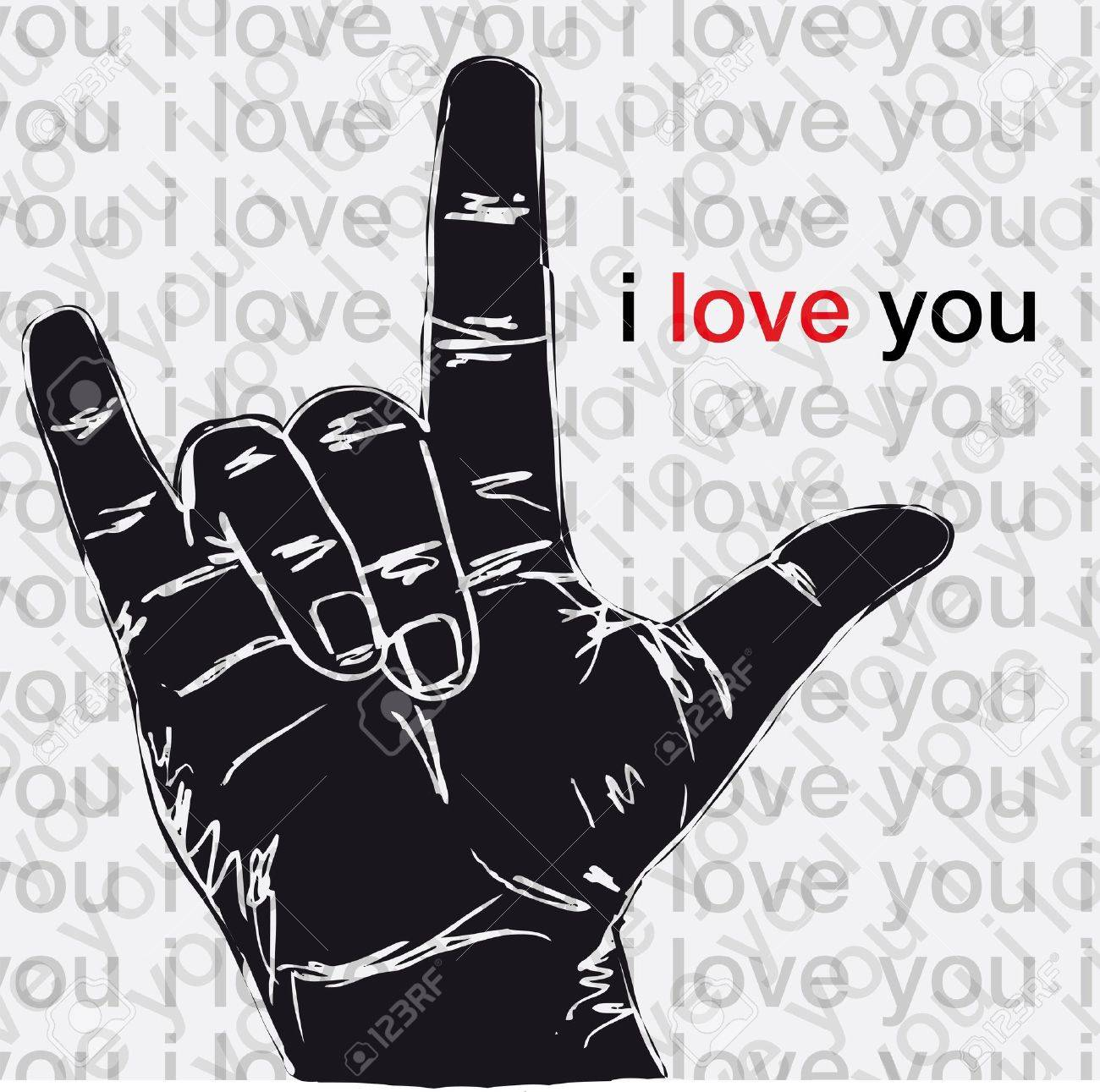 I love you hand symbolic gestures illustration Stock Vector - 13014118
