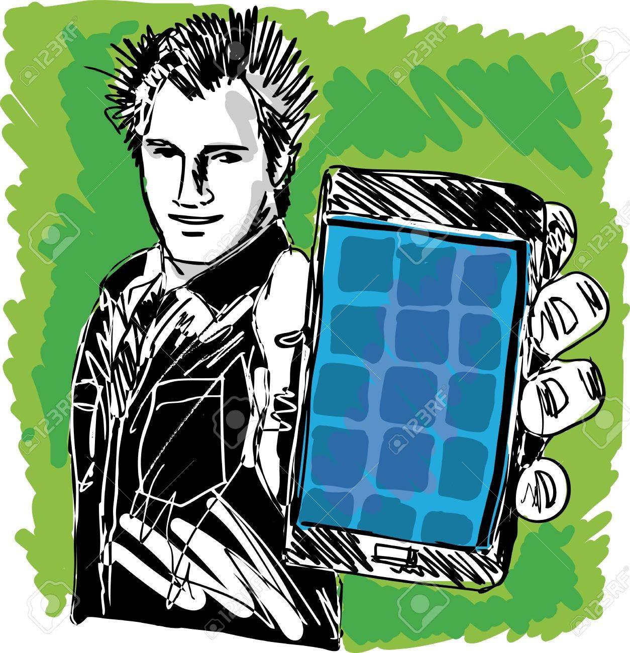 Sketch of Handsome guy showing his Modern Smartphone  Vector Stock Vector - 13059425