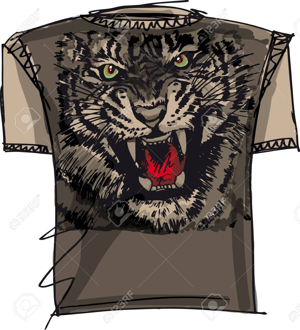 tee sketch of tiger. vector illustration Stock Vector - 13214906