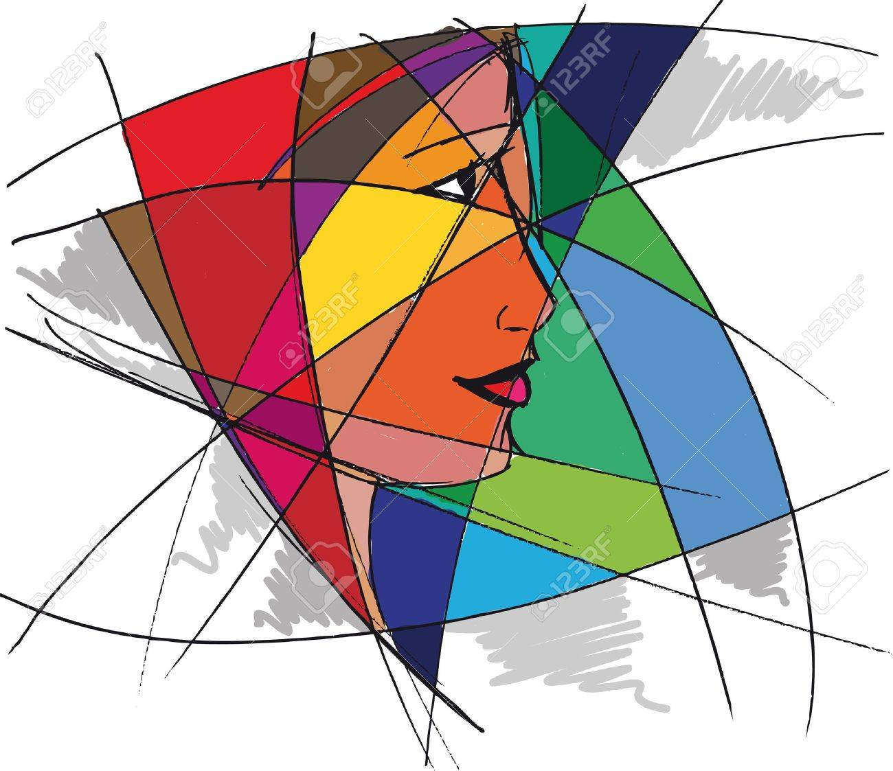 Abstract woman face. Vector illustration Stock Vector - 13214868