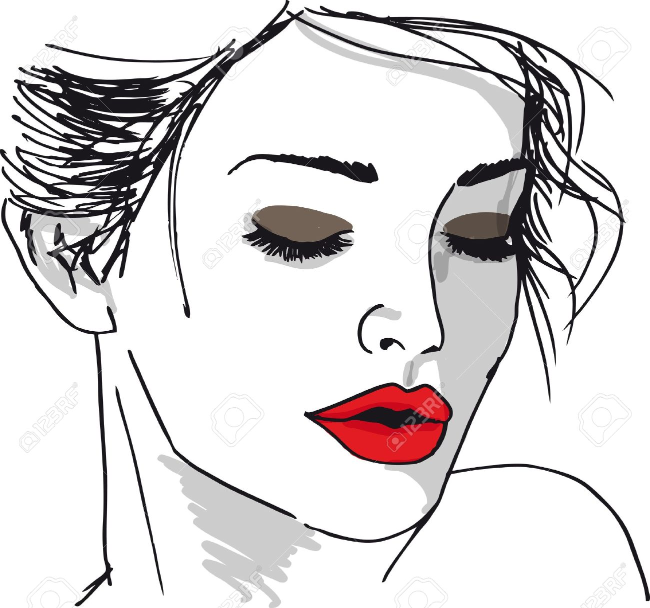 Sketch of beautiful woman face. Vector illustration Stock Vector - 13214830