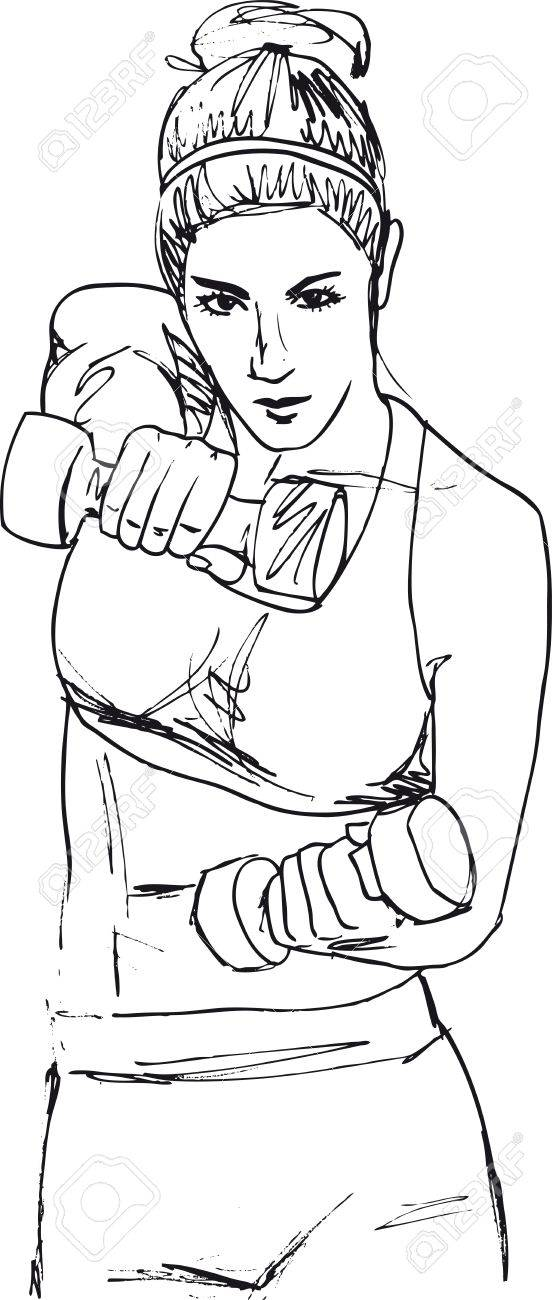 Sketch of a woman working out at the gym with dumbbell weights. Vector illustration - 13624595