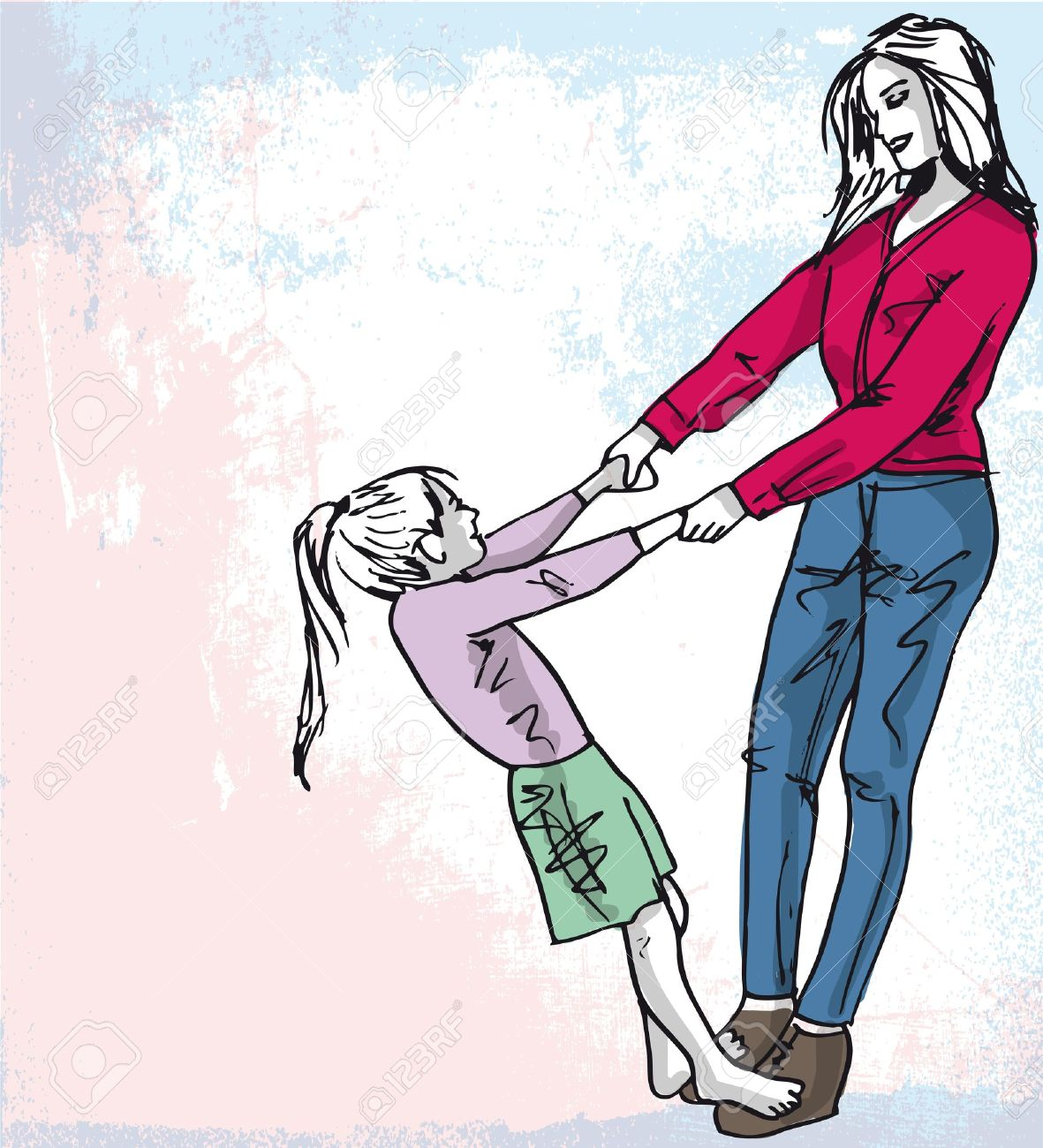 Esquisse D Une Petite Fille S Amuse Avec Sa Belle Mère Vector Illustration