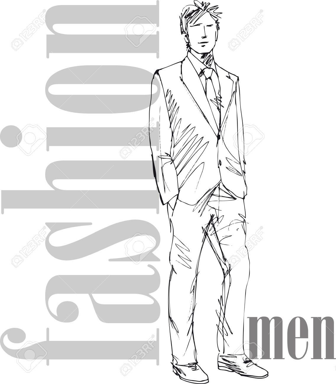 Sketch of fashion handsome man. Vector illustration Stock Vector - 13930047