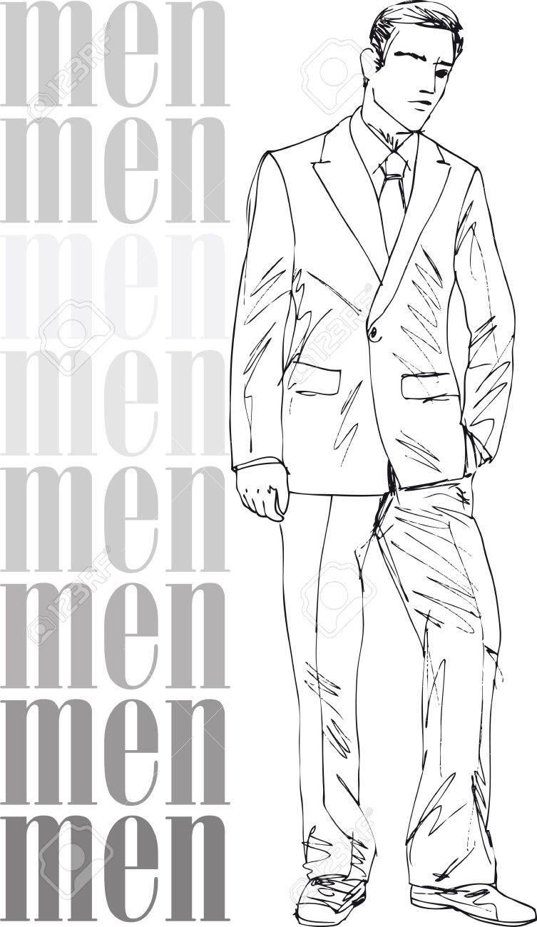 Sketch of fashion handsome men. Vector illustration Stock Vector - 13930048