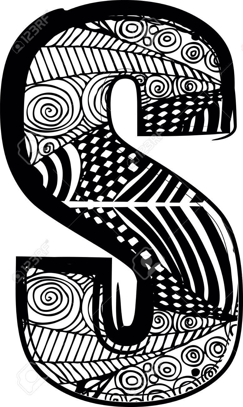 Letra S Con Dibujo Abstracto Ilustración Vectorial Ilustraciones