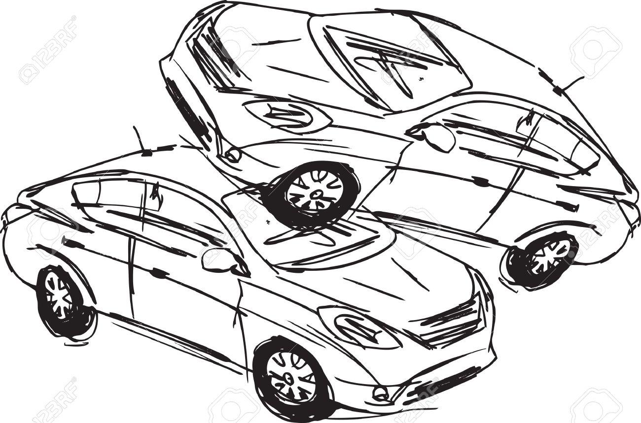 Skizze Zweier Autos Bei Einem Unfall Auf Einem Weißen Hintergrund ...