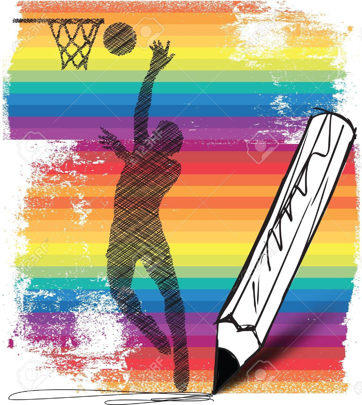 Drawing of Basketball player Stock Vector - 14801757