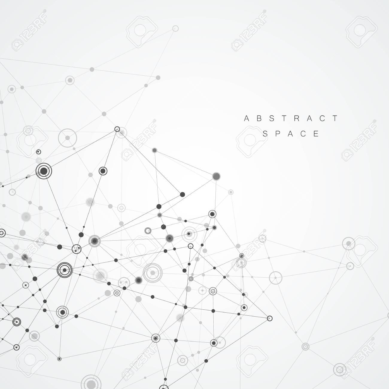 Abstract polygonal background. Geometrical design with connecting dots and lines - 130841185